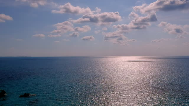 aerial lockdown: vast sea of bermuda during sunset in spanish point, bermuda - horizon stock videos & royalty-free footage
