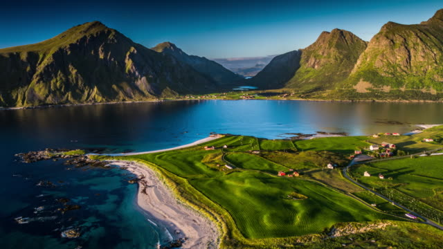 aerial: lofoten islands landscape in northern norway - north stock videos & royalty-free footage