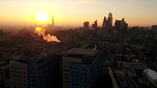 aerial london at sunrise - central london stock videos & royalty-free footage