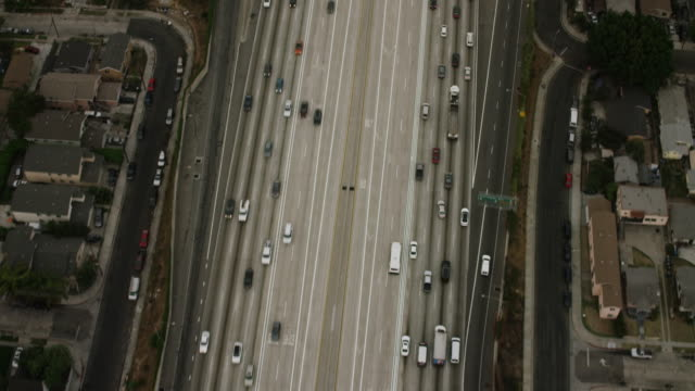 Aerial looking directly down and over the horizon on Interstate 110 LA, CA