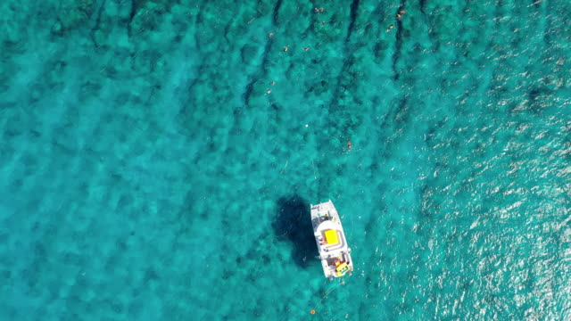 aerial: looking directly down at yellow pontoon boat and tourists swimming near boat in tropical water - providenciales, turks and caicos - turks and caicos islands stock videos & royalty-free footage