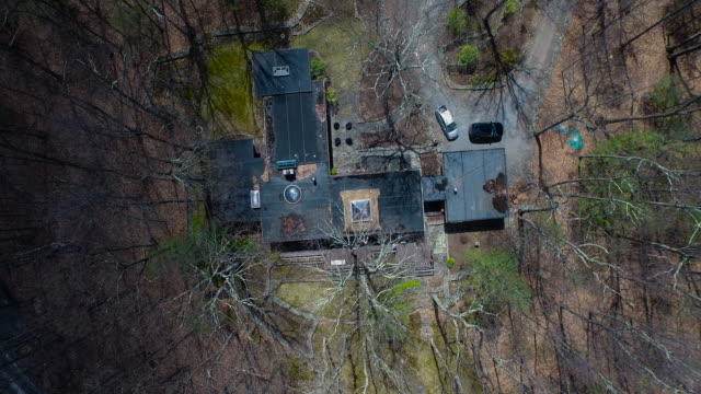 Aerial looking directly down on house in country