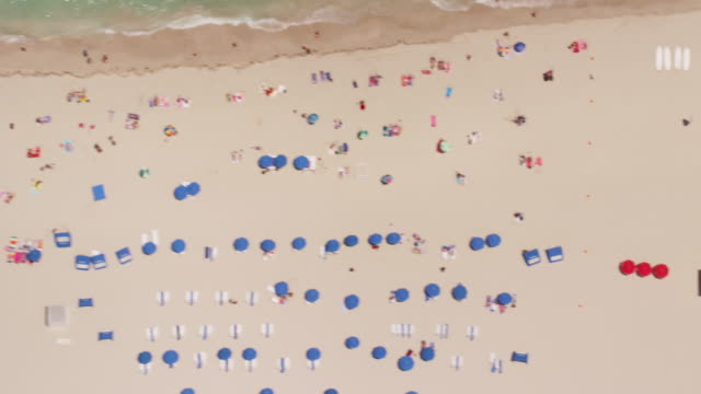 aerial looking directly down on south beach, miami fl - sunbed stock videos & royalty-free footage