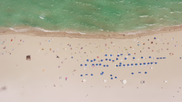 aerial looking directly down on south beach, miami fl - parasol stock videos & royalty-free footage