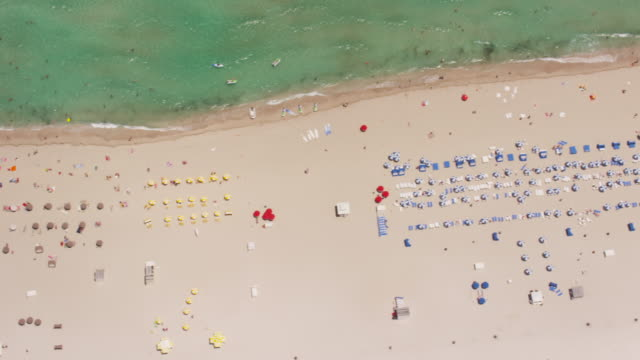 Aerial looking directly down on South Beach, Miami FL