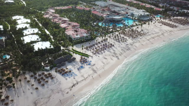 aerial: looking down at a structure in punta cana - punta cana stock videos and b-roll footage