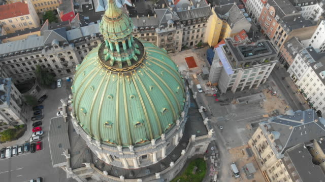aerial looking down at dome of the marble church (also called frederik's church or marmorkirken), copenhagen - church stock videos & royalty-free footage
