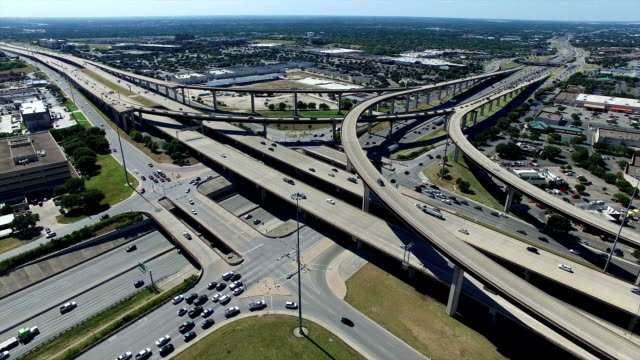 aerial looking down at highways and interchange in the austin / round rock texas freeway system - american interstate stock videos & royalty-free footage