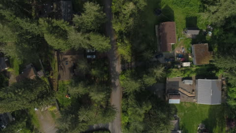 """aerial """"looking down"""" view of golden bar, the small town in mountains in washington state, northwest usa. drone video with the panning camera motion. - small town america stock videos & royalty-free footage"""