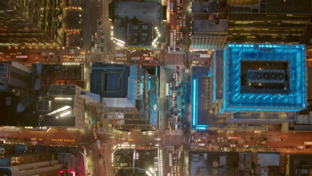 Aerial looking straight down at busy Manhattan streets at night, NYC