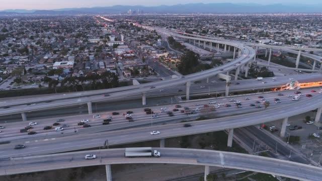 Aerial Los Angeles Freeway Rush Hour Traffic