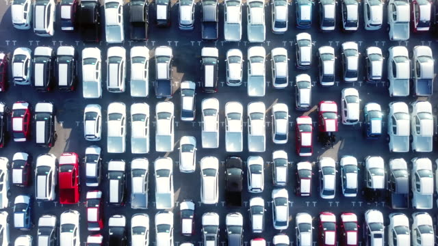 aerial lots of cars for export - ship stock videos & royalty-free footage