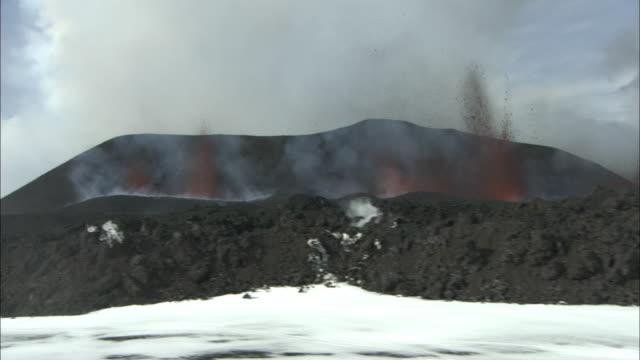 aerial low over snow around erupting volcano, lava, eyjafjallajokull, iceland, april 2010 - 2010 stock videos and b-roll footage