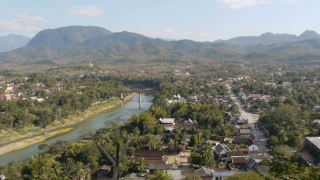 aerial. luang prabang in laos. - laos stock videos and b-roll footage