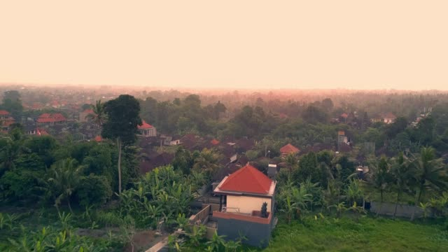 aerial: lush green tropical town at dusk - ubud stock videos & royalty-free footage