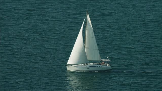 Aerial Luxury Sailing Yacht people ocean travel UAE
