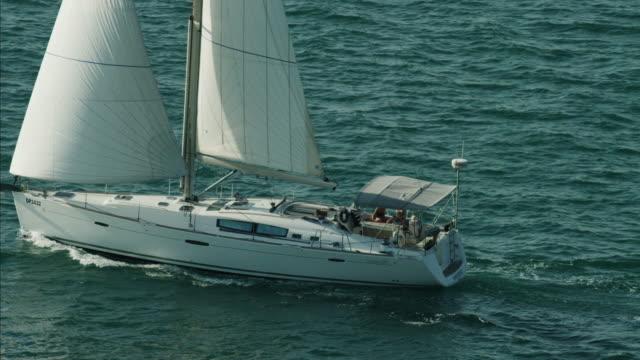 Aerial Luxury Sailing Yacht people ocean vacation