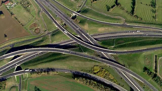 aerial m1 motorway - road junction stock videos & royalty-free footage