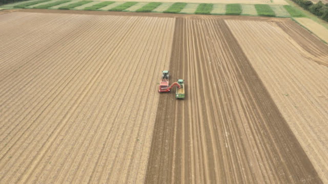 aerial machinery harvests potato crop, uk - agricultural machinery stock videos & royalty-free footage