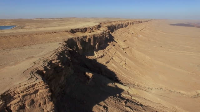 aerial, makhtesh ramon crater, view from mitzpe ramon, negev desert, israel  - negev stock videos & royalty-free footage