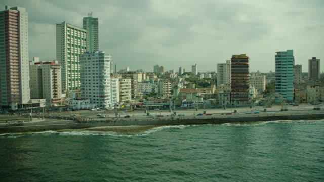 aerial malecon roadway, havana, cuba - cuba stock videos & royalty-free footage