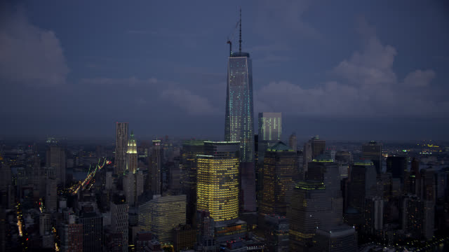 aerial, manhattan, financial district, night - one world trade center stock videos & royalty-free footage