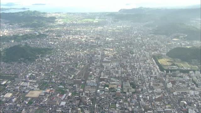 vídeos y material grabado en eventos de stock de aerial matsuyama city in japan - seto