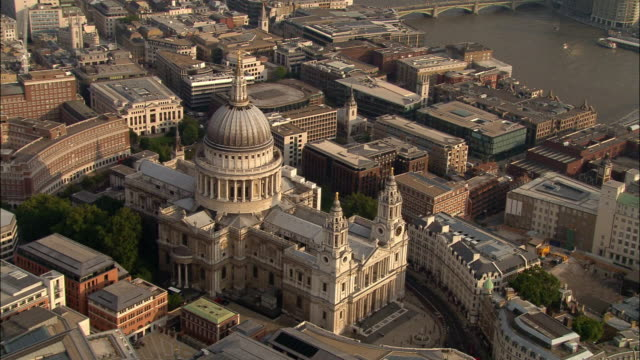 aerial medium shot st. paul's cathedral and surrounding area / london, england - cathedral stock videos & royalty-free footage