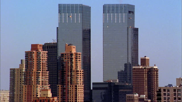 aerial medium shot time warner center and midtown manhattan - time warner center stock videos & royalty-free footage