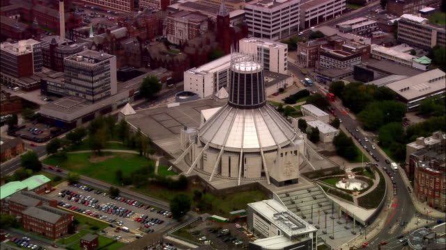 aerial metropolitan cathedral of christ the king/ liverpool, england - merseyside stock videos & royalty-free footage
