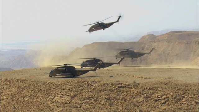 aerial military helicopters taking off over the desert, arava, israel - israeli military stock videos & royalty-free footage