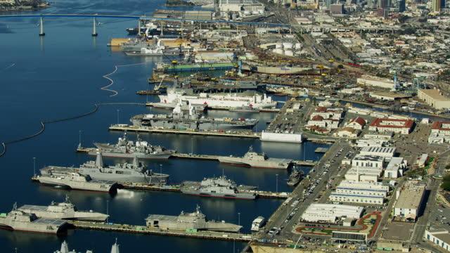 aerial military us navel base san diego california - san diego点の映像素材/bロール