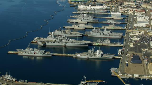 aerial military us navel base san diego california - 軍事基地点の映像素材/bロール