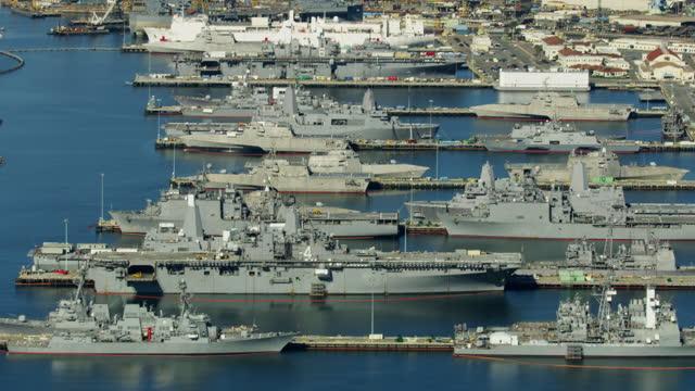stockvideo's en b-roll-footage met aerial military us navel base san diego california - navel