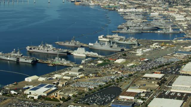 stockvideo's en b-roll-footage met aerial military us navel base san diego fleet - navel