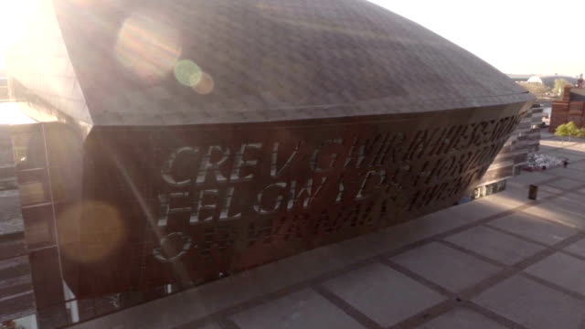aerial millennium centre - cardiff wales stock videos & royalty-free footage