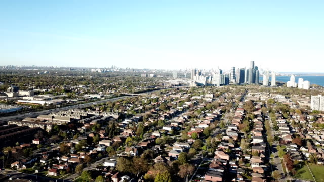 aerial modern residential condo towers in toronto, ontario, canada - vanishing point stock videos & royalty-free footage