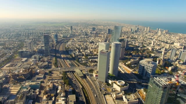 aerial /modern tel aviv with ayalon highway, azrieli towers traffic and ramat gan financial district - israel stock videos & royalty-free footage