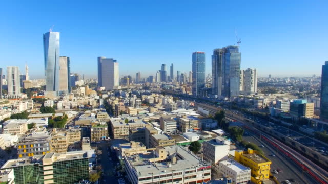 aerial /modern tel aviv with ayalon highway,and ramat gan financial district - tel aviv stock videos & royalty-free footage