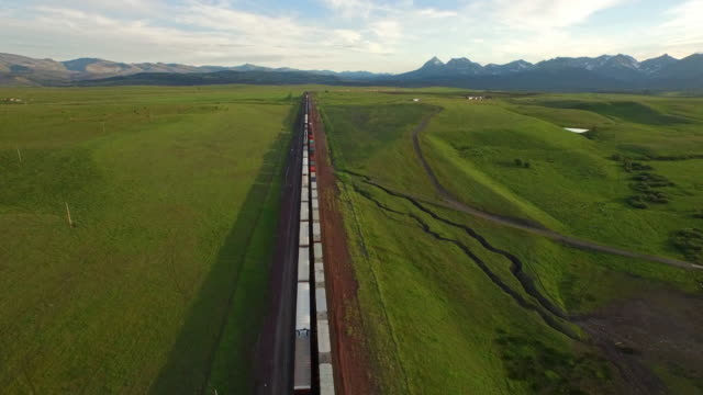 aerial montana countryside - railway track stock videos & royalty-free footage