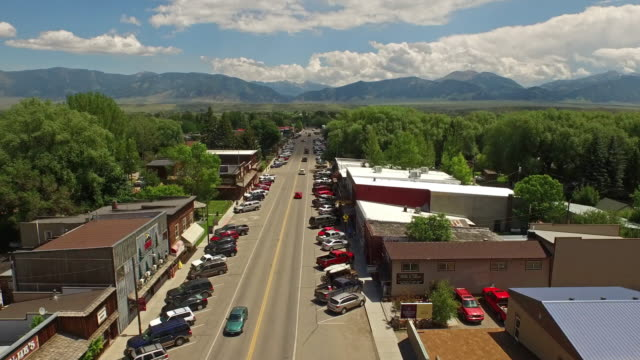 aerial montana ennis - small town stock videos & royalty-free footage