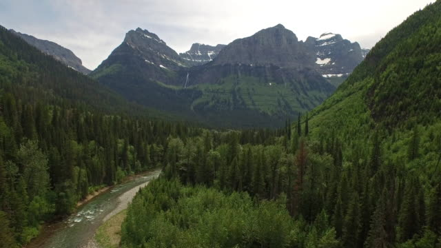 aerial montana glacier national park - antenna aerial stock videos & royalty-free footage