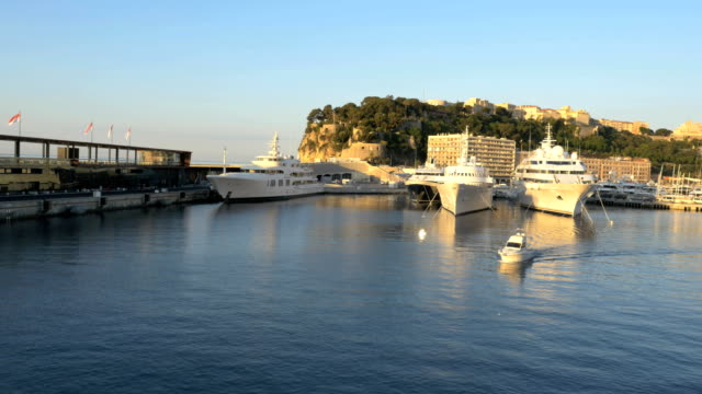aerial monte carlo sunrise mediterranean pier yacht marina - monaco stock videos and b-roll footage