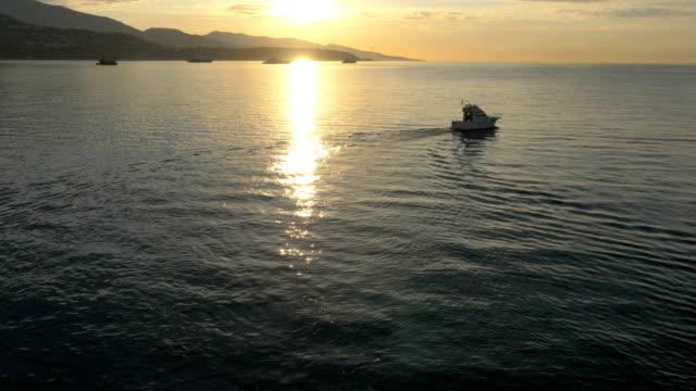 aerial monte carlo sunrise yacht marina harbor travel - monte carlo stock videos & royalty-free footage