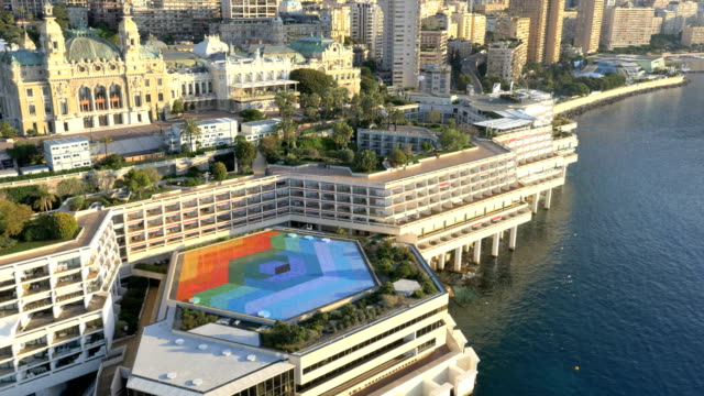 aerial monte carlo sunset luxury boat harbor transportation - aerial transport building stock videos & royalty-free footage