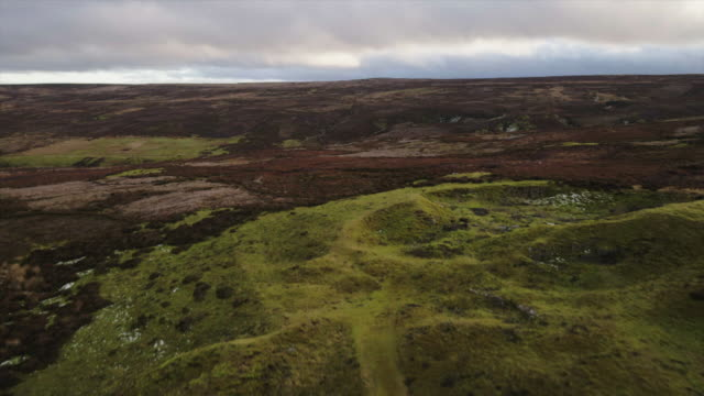 aerial moorland countryside - hill stock videos & royalty-free footage