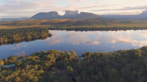 aerial  morning view of canaima national park tepuis and the carrao river at ucaima - south america stock videos & royalty-free footage