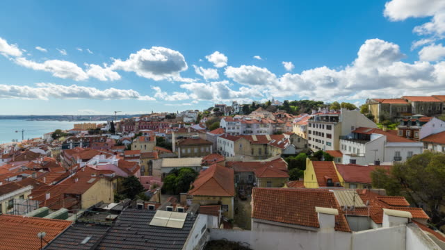 aerial motion timelapse (hyperlapse) of the alfama - lisbon old town. portugal. april, 2017 - lisbon stock videos and b-roll footage