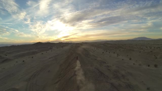 aerial motocross desert sunset