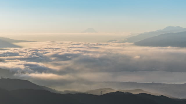 aerial Mount Fuji with Suwako Lake sunrise Takabochi in early morning, Japan.